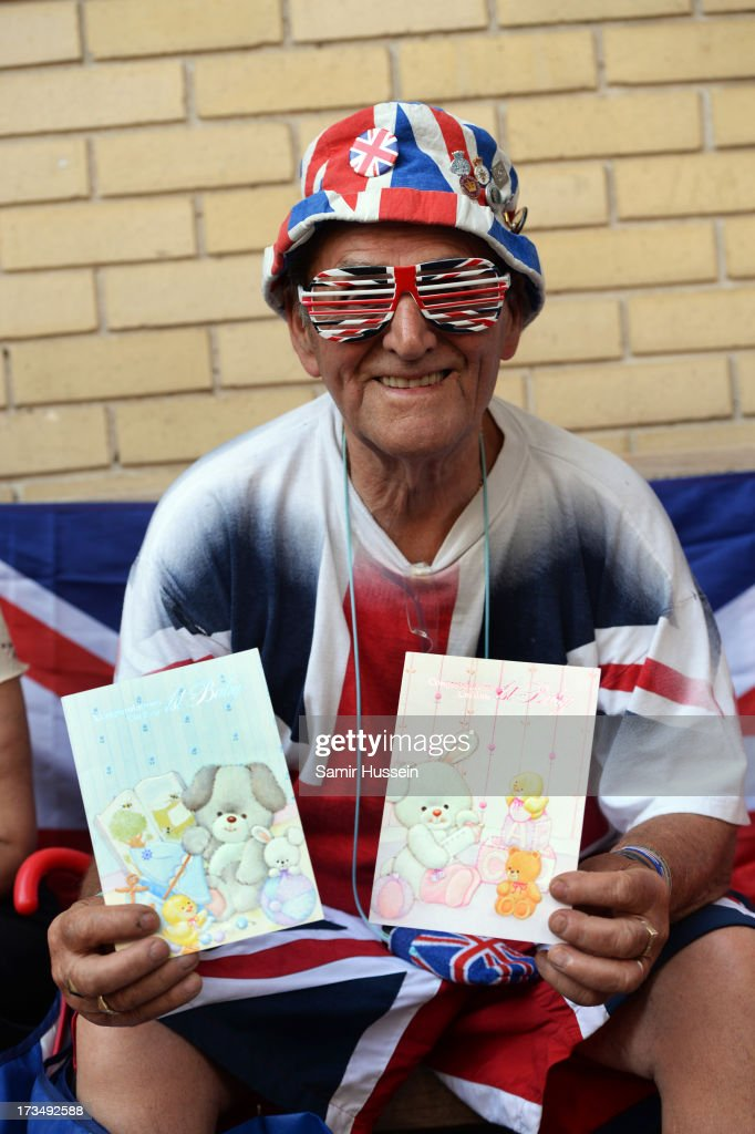 Terry Hutt, a royalist, sits outside the The Lindo Wing of St Mary's Hospital as the UK prepares for the birth of the first child of The Duke and Duchess of Cambridge at St Mary's Hospital on July 15, 2013 in London, England.