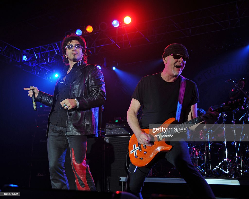 Terry Ilous and Mark Kendall (R) of Great White perform at Seminole Casino Coconut Creek on December 15, 2012 in Coconut Creek, Florida.
