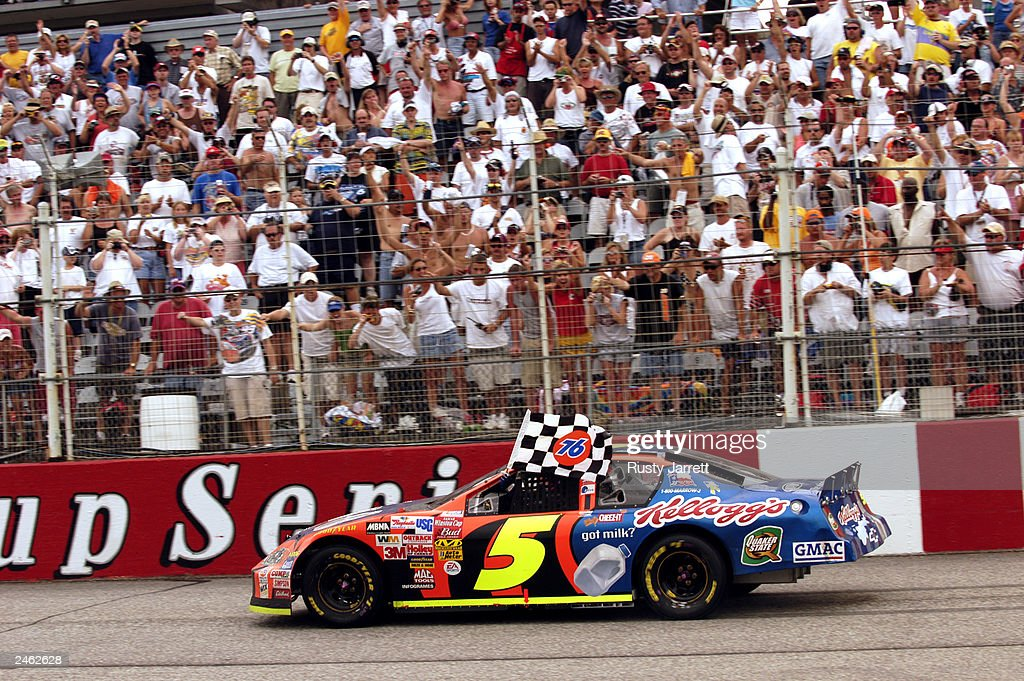 Terry LaBonte driver of the Kellog's Chevrolet Monte Carlo celebrates after winning the Mountain Dew Southern 500 at Darlington Raceway on August 31...