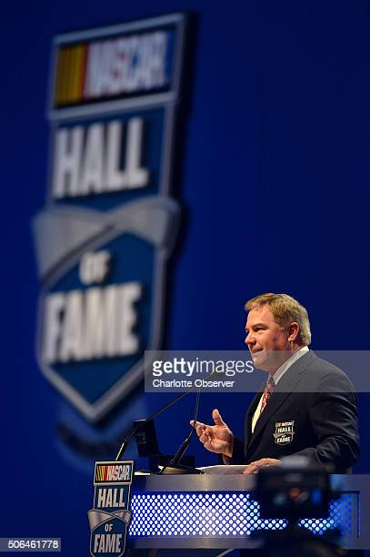 Terry Labonte speaks during the NASCAR Hall of Fame Induction Ceremony on Saturday Jan 23 in Charlotte NC Labonte was inducted into the Hall of Fame...