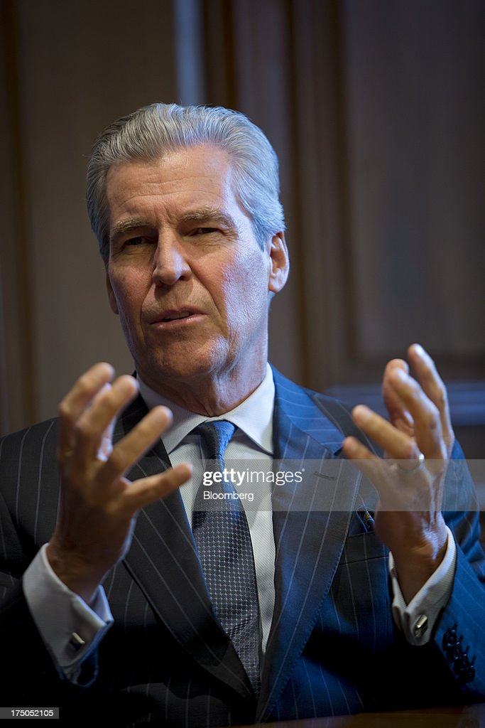 Terry Lundgren, chairman, president and chief executive officer of Macy's Inc., speaks during an interview in New York, U.S., on Monday, July 29, 2013. Lundgren recently said the company will not follow other retailers'charge into Canada for now, given the size of the Canadian population and appetite for fashion. Photographer: Scott Eells/Bloomberg via Getty Images