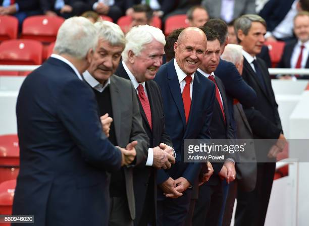Terry Mcdermott Chris Lawler Phil Neal and Robbie Fowler during the Kenny Dalglish Stand unveiling on October 13 2017 in Liverpool United Kingdom