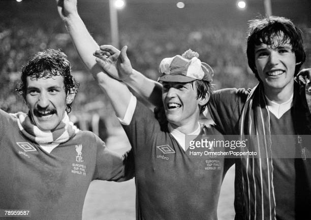 Football 10th May 1978 Wembley England European Cup Final Liverpool 1 v FC Brugges 0 A jubilant goalscorer Kenny Dalglish is flanked by teammates...