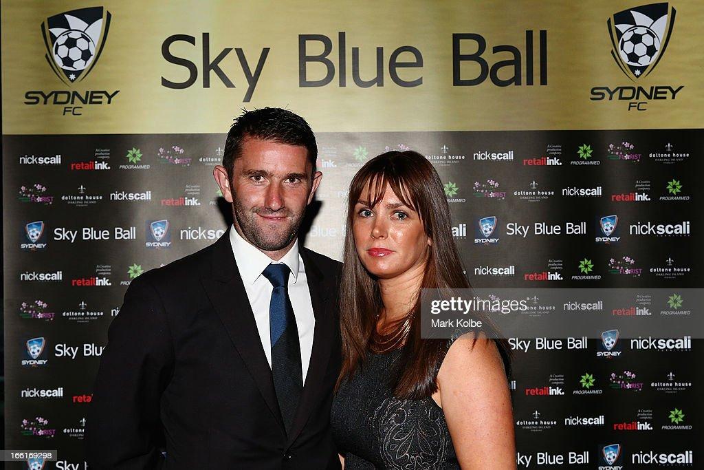 Terry McFlynn and Emma McFlynn pose at the Sydney FC Sky Blue Ball at Doltone House on April 9, 2013 in Sydney, Australia.