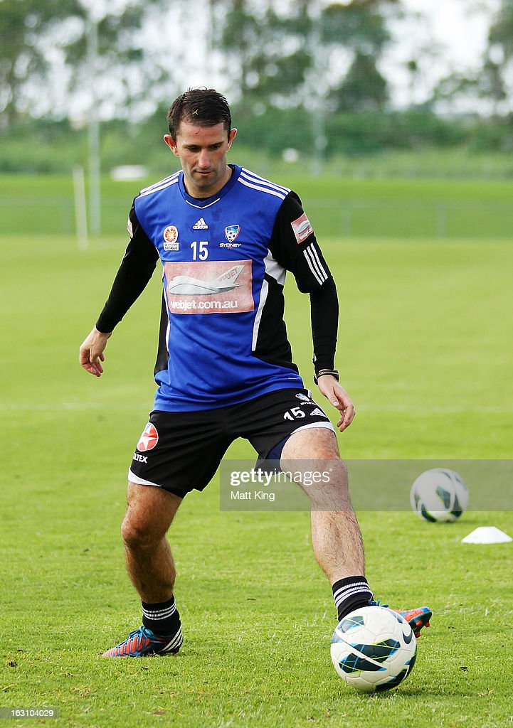 Terry McFlynn controls the ball during a Sydney FC A-League training session at Macquarie Uni on March 5, 2013 in Sydney, Australia.