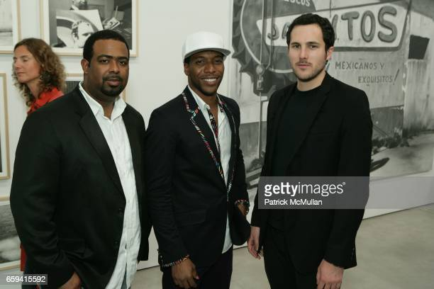 Terry Miles Jacko Sims and Matt McKane attend Dennis Hopper's 'Signs of The Times' Opening at the Tony Shafrazi Gallery on September 12 2009 in New...