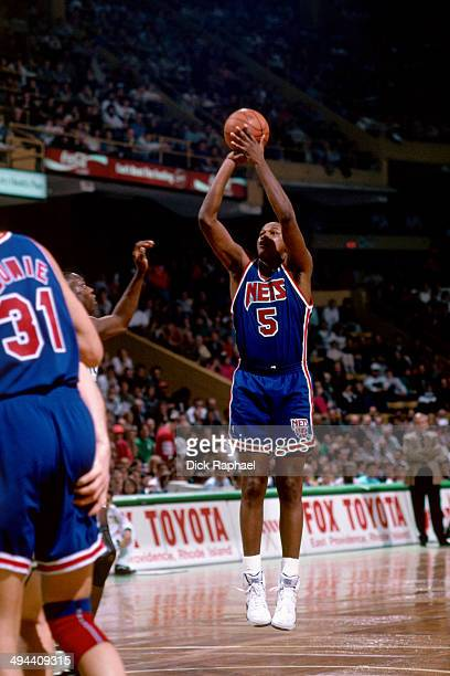 Terry Mills of the New Jersey Nets shoots against the Boston Celtics during a game played in 1992 at the Boston Garden in Boston Massachusetts NOTE...