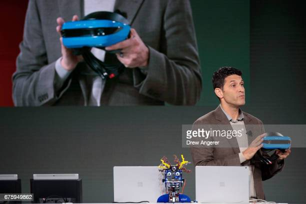 Terry Myerson executive vice president of the Microsoft Windows and Devices Group speaks about the Acer Windows VR headset during a Microsoft launch...