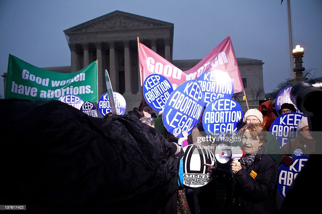 Terry O'Neill, president of the National Organization for Women, joins pro-choice activists for a vigil outside the U.S. Supreme Court on January 23, 2012 in Washington, DC. The vigil was held to mark the anniversary of the Roe v. Wade Supreme Court decision that legalized abortion.
