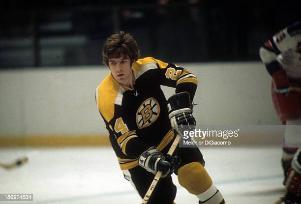 Terry O'Reilly of the Boston Bruins skates on the ice during an NHL game against the New York Rangers circa 1972 at the Madison Square Garden in New...