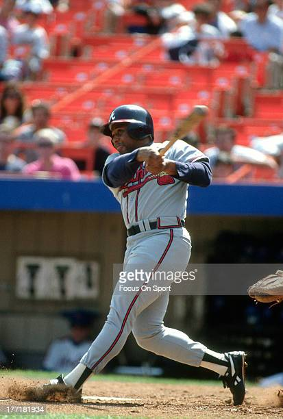 Terry Pendleton of the Atlanta Braves bats against the New York Mets during an Major League Baseball game circa 1992 at Shea Stadium in the Queens...