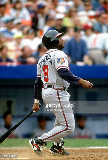 Terry Pendleton of the Atlanta Braves bats against the New York Mets during an Major League Baseball game circa 1994 at Shea Stadium in the Queens...