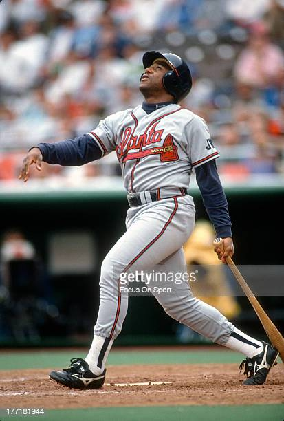 Terry Pendleton of the Atlanta Braves bats against the Philadelphia Phillies during an Major League Baseball game circa 1991 at Veterans Stadium in...