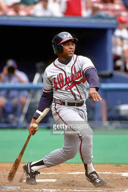 Terry Pendleton of the Atlanta Braves bats against the Pittsburgh Pirates during a Major League Baseball game at Three Rivers Stadium circa 1993 in...