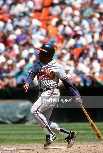 Terry Pendleton of the Atlanta Braves bats against the San Francisco Giants during an Major League Baseball game circa 1992 at Candlestick Park in...
