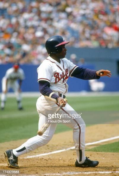 Terry Pendleton of the Atlanta Braves bats during an Major League Baseball game circa 1991 at AtlantaFulton County Stadium in Atlanta Georgia...