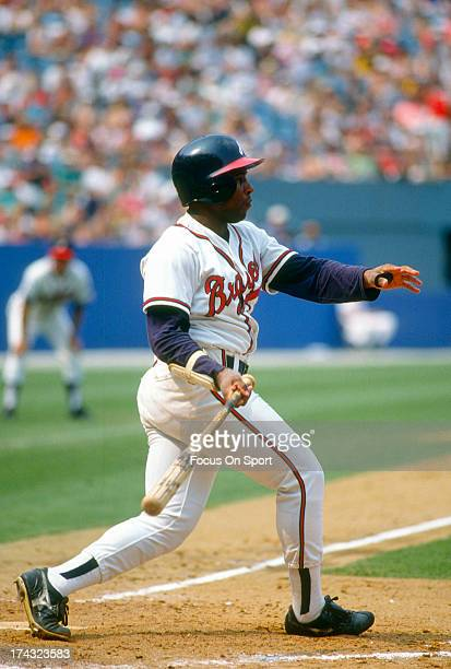 Terry Pendleton of the Atlanta Braves bats during an Major League Baseball game circa 1991 at AtlantaFulton County Stadium in Atlanta Georgia...