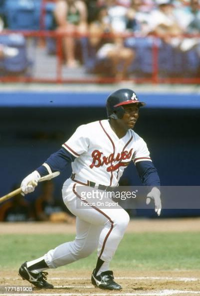 Terry Pendleton of the Atlanta Braves bats during an Major League Baseball game circa 1992 at AtlantaFulton County Stadium in Atlanta Georgia...