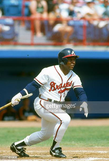 Terry Pendleton of the Atlanta Braves bats during an Major League Baseball game circa 1992 at AtlantaFulton County Stadium in Atlanta Georgia...