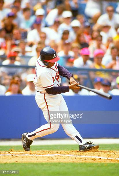 Terry Pendleton of the Atlanta Braves bats during an Major League Baseball game circa 1993 at AtlantaFulton County Stadium in Atlanta Georgia...