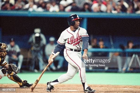 Terry Pendleton of the Atlanta Braves bats during the 1991 National League Division Series against the Pittsburgh Pirates at Three Rivers Stadium in...