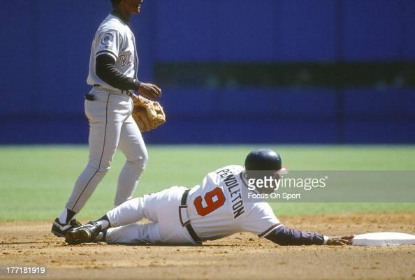 Terry Pendleton of the Atlanta Braves in action against the Colorado Rockies during an Major League Baseball game circa 1993 at AtlantaFulton County...