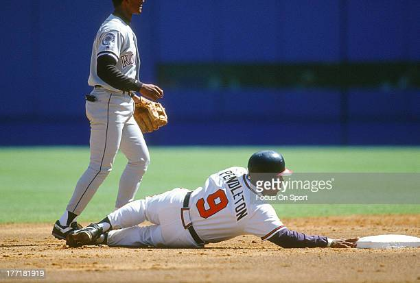 Terry Pendleton of the Atlanta Braves in action against the Colorado Rockies during an Major League Baseball game circa 1993 at AtlantaFulton County...