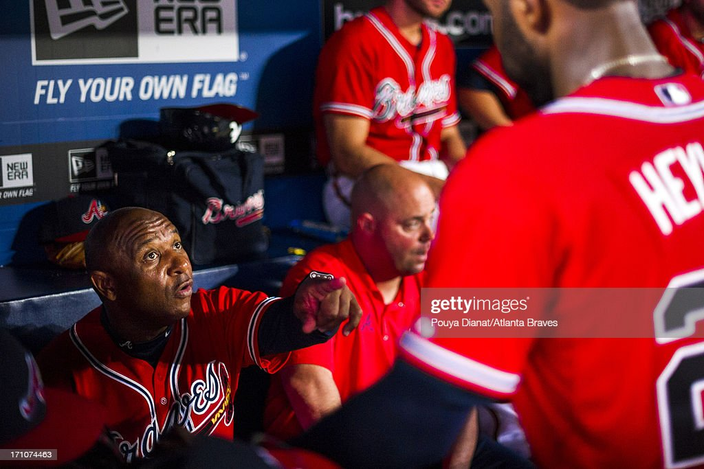 Terry Pendleton #9 of the Atlanta Braves in the dugout during the game against the Los Angeles Dodgers at Turner Field on May 17, 2013 in Atlanta, Georgia. The Braves won 8-5.