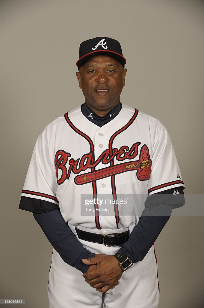 Terry Pendleton #9 of the Atlanta Braves poses during Photo Day on Wednesday, February 20, 2013 at Champion Stadium in Lake Buena Vista, Florida.