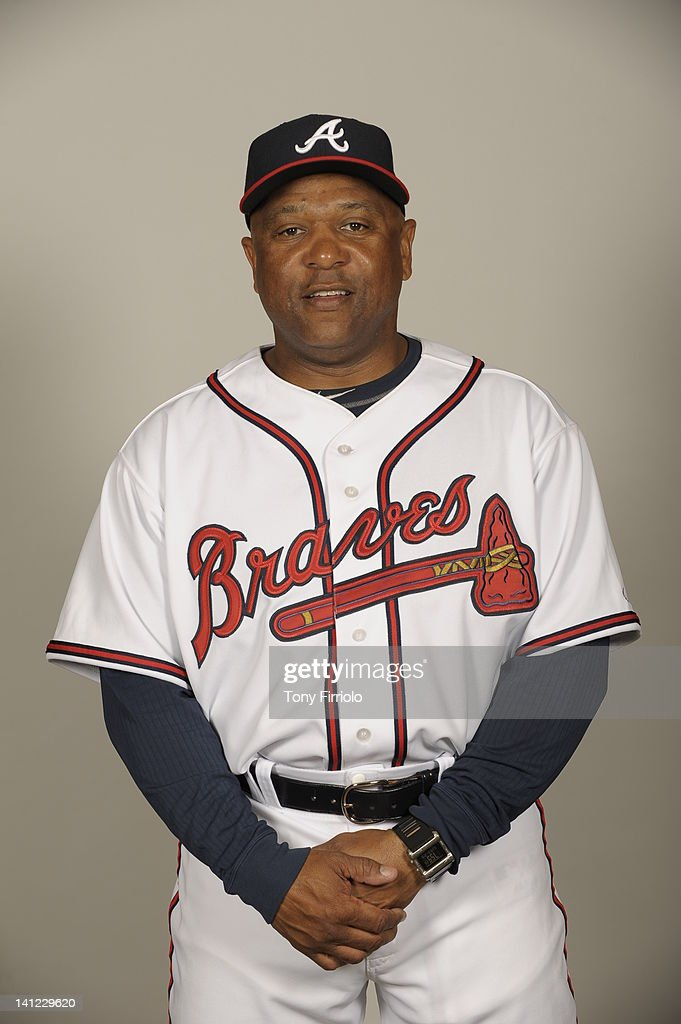 Terry Pendleton (9) of the Atlanta Braves poses during Photo Day on Wednesday, February 29, 2012 at Champion Stadium in Lake Buena Vista, Florida.