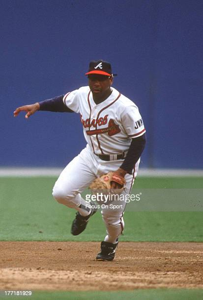 Terry Pendleton of the Atlanta Braves reacts forward on a ground ball during an Major League Baseball game circa 1991 at AtlantaFulton County Stadium...