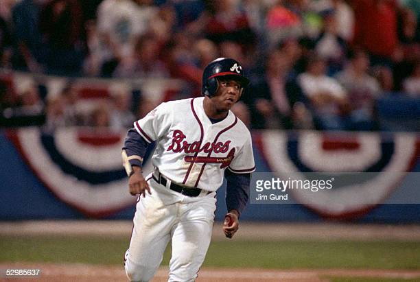 Terry Pendleton of the Atlanta Braves runs during game 4 of the World Series at AtlantaFulton County Stadium in Atlanta Georgia on October 23 1991...