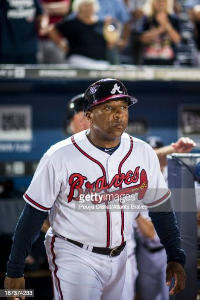 Terry Pendleton of the Atlanta Braves walks on the field during the game against the Colorado Rockies at Turner Field on July 30 2013 in Atlanta...