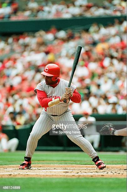 Terry Pendleton of the Cincinatti Reds bats against the St Louis Cardinals at Busch Stadium on June 22 1997 in St Louis Missouri The Cardinals beat...