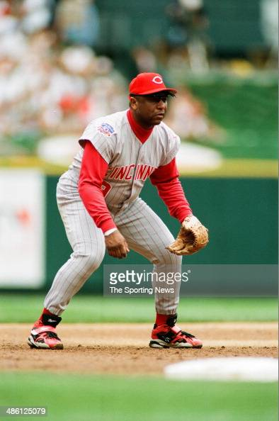 Terry Pendleton of the Cincinatti Reds fields against the St Louis Cardinals at Busch Stadium on June 22 1997 in St Louis Missouri The Cardinals beat...