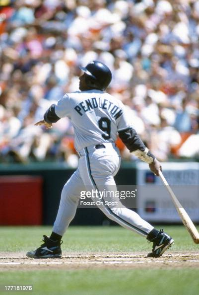 Terry Pendleton of the Florida Marlins bats against the San Francisco Giants during an Major League Baseball game circa 1996 at Candlestick Park in...
