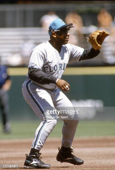 Terry Pendleton of the Florida Marlins in action against the San Francisco Giants during an Major League Baseball game circa 1996 at Candlestick Park...