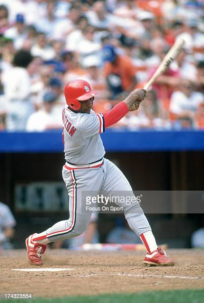 Terry Pendleton of the St Louis Cardinals bats against the New York Mets during an Major League Baseball game circa 1985 at Shea Stadium in the...