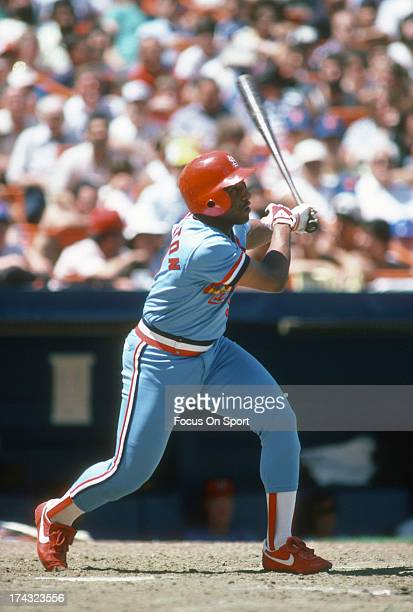 Terry Pendleton of the St Louis Cardinals bats against the New York Mets during an Major League Baseball game circa 1984 at Shea Stadium in the...