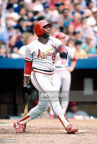 Terry Pendleton of the St Louis Cardinals bats against the New York Mets during an Major League Baseball game circa 1986 at Shea Stadium in the...