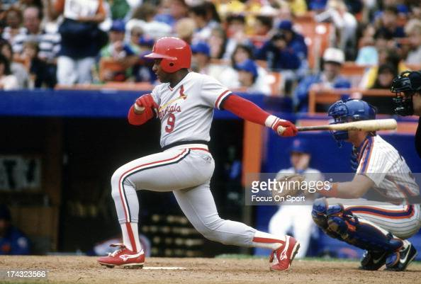 Terry Pendleton of the St Louis Cardinals bats against the New York Mets during an Major League Baseball game circa 1987 at Shea Stadium in the...