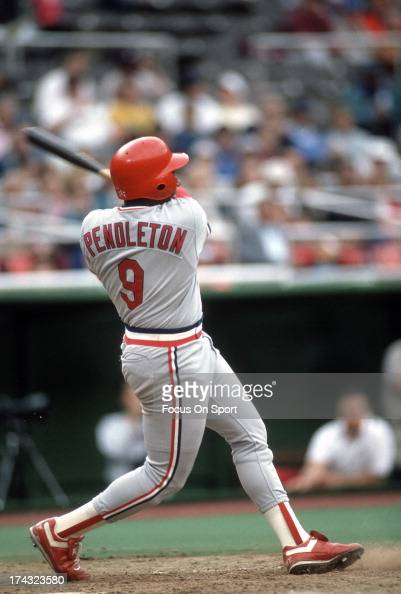 Terry Pendleton of the St Louis Cardinals bats against the Philadelphia Phillies during an Major League Baseball game circa 1990 at Veterans Stadium...