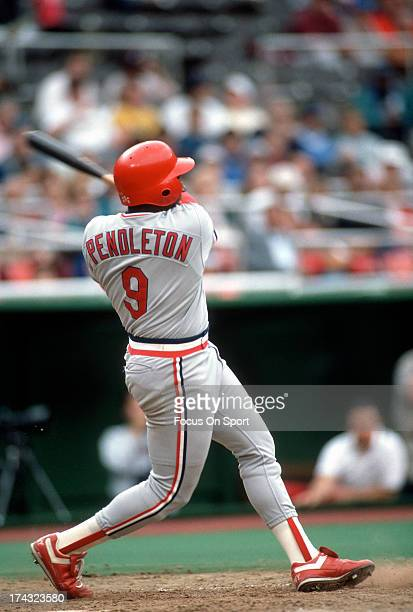Terry Pendleton of the St Louis Cardinals bats against the Philadelphia Phillies during an Major League Baseball game circa 1990 at Veterans Stadium...