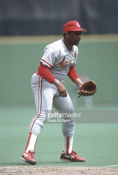 Terry Pendleton of the St Louis Cardinals down and ready to make a play on the ball against the Philadelphia Phillies during an Major League Baseball...