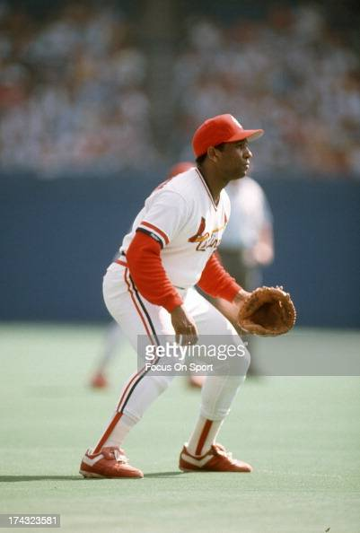 Terry Pendleton of the St Louis Cardinals down and ready to make a play on the ball during an Major League Baseball game circa 1989 at Busch Stadium...