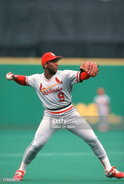 Terry Pendleton of the St Louis Cardinals in action against the Philadelphia Phillies during an Major League Baseball game circa 1990 at Veterans...