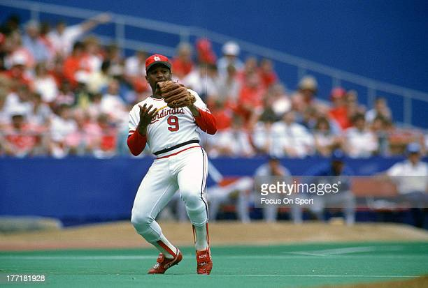 Terry Pendleton of the St Louis Cardinals in action during an Major League Baseball game circa 1987 at Busch Stadium in St Louis Missouri Pendleton...