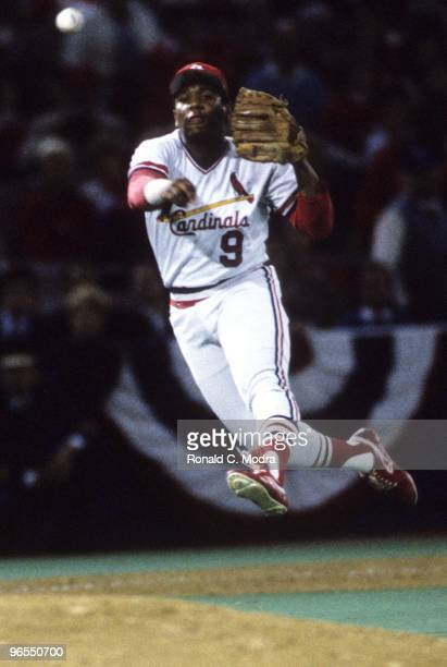 Terry Pendleton of the St Louis Cardinals throws to first base during Game 5 of the 1985 World Series against the Kansas City Royals at Busch Stadium...