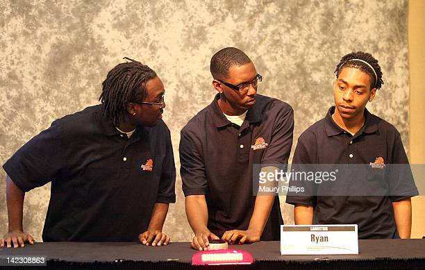 Terry Phillips Ryan Johnson and Aalim Lankford of Langston University attend the Honda Campus AllStar Challenge Round Robin Games at Torrance...