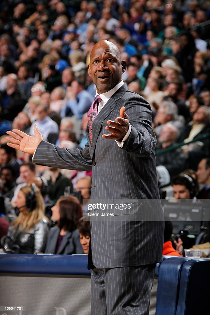 <a gi-track='captionPersonalityLinkClicked' href=/galleries/search?phrase=Terry+Porter&family=editorial&specificpeople=204527 ng-click='$event.stopPropagation()'>Terry Porter</a> Assistant Coach of the Minnesota Timberwolves calls plays during the game against the Dallas Mavericks on January 14, 2013 at the American Airlines Center in Dallas, Texas.